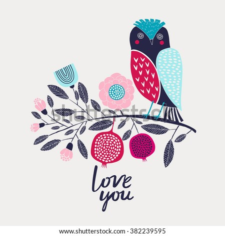 Love you Print Design - stock vector