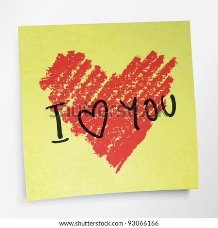 love you words and heart symbol, painted with red lipstick on sticky yellow paper note. Vector, EPS10. - stock vector