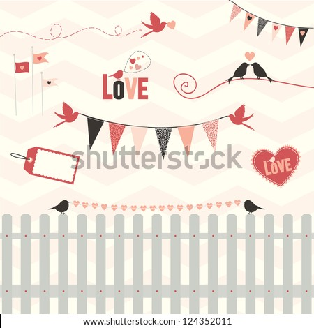 Lovebird Design Elements: A collection of design elements with love in mind. Can be used together or individually, Fully editable vector illustration - stock vector
