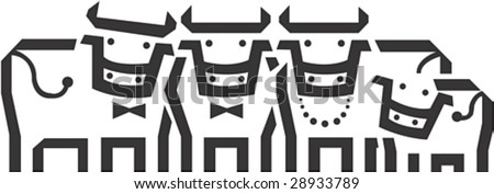 Lovely and Cute young Cows Character on white background : vector illustration - stock vector