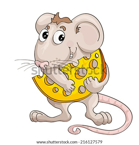 Lovely animation little mouse with slice of cheese on isolated white background - stock vector