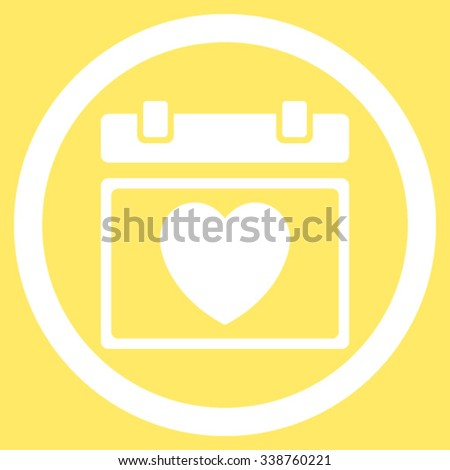 Lovely Appointment Date vector icon. Style is flat rounded symbol, white color, rounded angles, yellow background. - stock vector