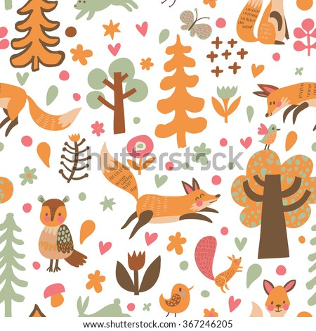 Lovely autumn concept childish seamless pattern with foxes, owl, squirrel and birds in mushrooms, flowers and trees. Seamless pattern can be used for wallpapers and background