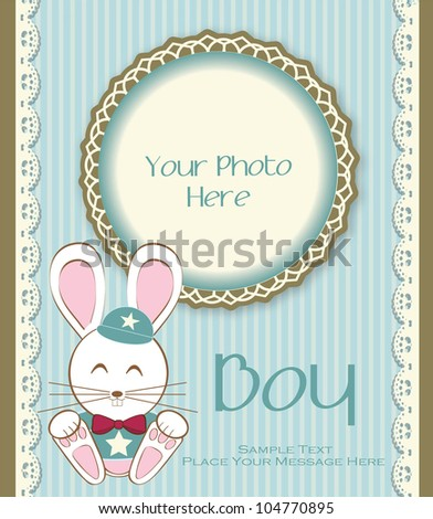 Lovely Baby with Photo Frame - stock vector