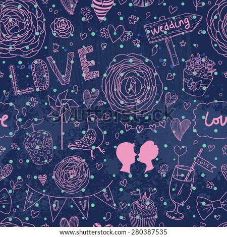 Lovely background with flowers and a lot of romantic symbols. Seamless pattern can be used for wallpapers, pattern fills, web page backgrounds, surface textures. Gorgeous seamless romantic background - stock vector