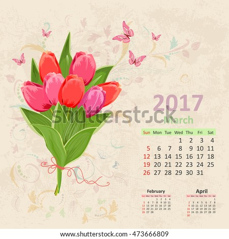 lovely bouquet of pink tulip on grunge background. Vintage Calendar for 2017, March