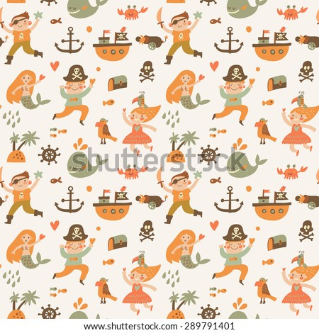 Lovely boys and girls in pirate costumes in cartoon seamless pattern. Sweet halloween background with pirates, anchor, ship, whale, crab, parrot, mermaid and island. Awesome seamless pattern in vector - stock vector