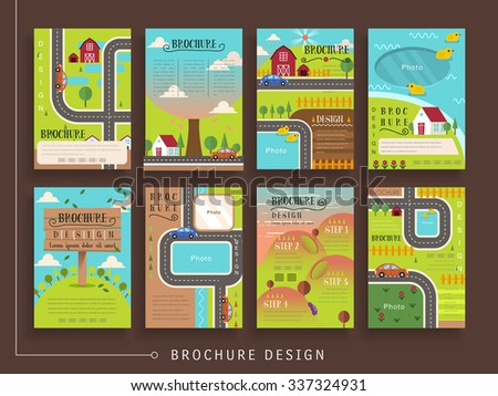 lovely brochure template design set with outdoor scenery in flat design - stock vector