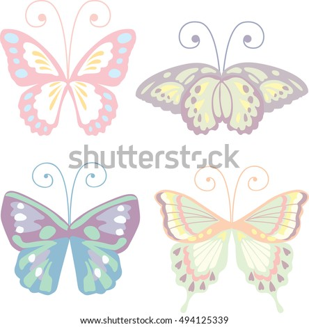Lovely butterfly set in pastel color vector