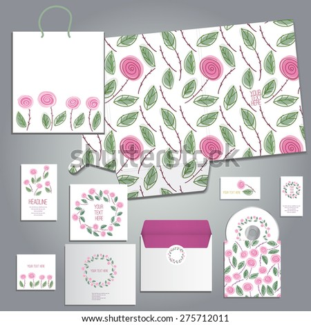 Lovely cards or invitation set with hand drawn floras in cartoon  style for any occasion includes folder A4 envelope business card and postcard, eps 10 - stock vector