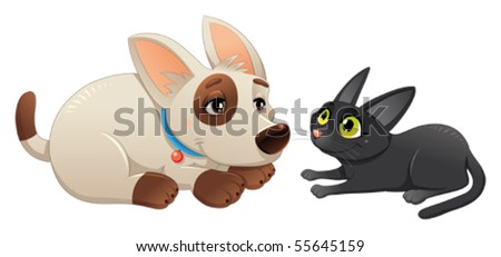 Lovely cat and dog. Cartoon and vector isolated characters. - stock vector