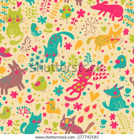 Lovely childish seamless pattern with birds, cats and funny dogs in vector. Seamless pattern can be used for wallpapers, pattern fills, web backgrounds,surface textures