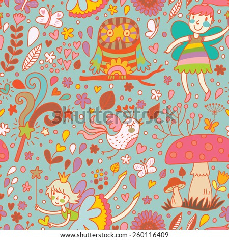 Lovely childish seamless pattern with fairies, mushrooms, birds and flowers. Spring floral vector background can be used for pattern fills, web page backgrounds, surface textures - stock vector