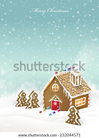 lovely Christmas gingerbread house isolated on snowy background - stock vector