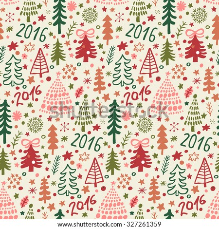 Lovely Christmas seamless pattern for winter holidays ornaments in bright colors. Stylish New 2016 Year and Christmas background in vector - stock vector
