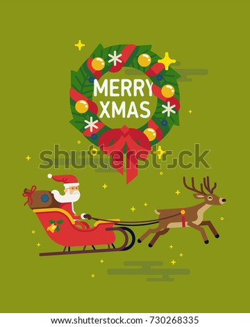 Lovely Christmas visual with traditional Xmas wreath and Santa Claus riding in red sleigh pulled by deer. Flat vector design elements on Christmas Holidays