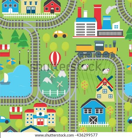 Lovely City Landscape Train Track Seamless Stock Vector