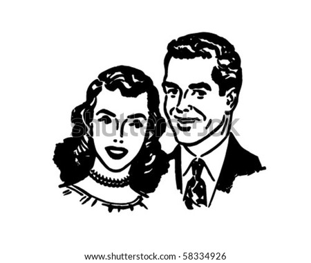 Lovely Couple - Retro Clip Art - stock vector