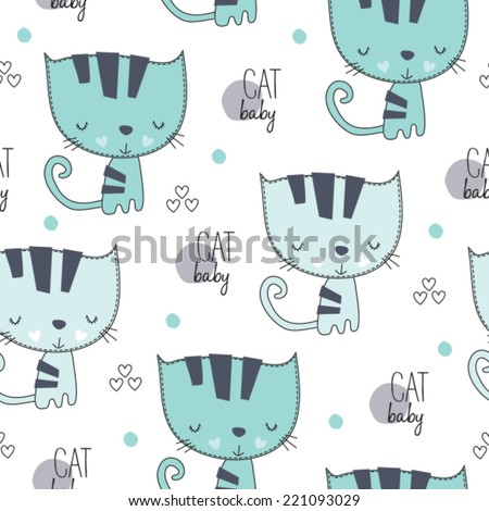 lovely cute cat pattern vector illustration - stock vector