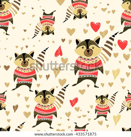 Lovely cute pattern with the image of hearts, and raccoons. Vector illustration cartoon. Bright colors.