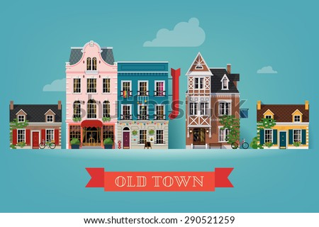 Lovely detailed vector old town village main street illustration with retro victorian style building facades - stock vector