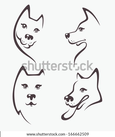 lovely dogs, my favorite pet, vector collection of animals symbols - stock vector