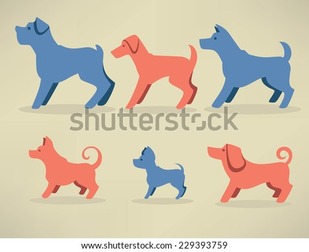 lovely dogs, my favorite pet, vector collection of dogs silhouettes - stock vector