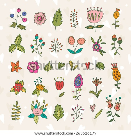 Lovely doodle floral elements, plants and flowers - stock vector