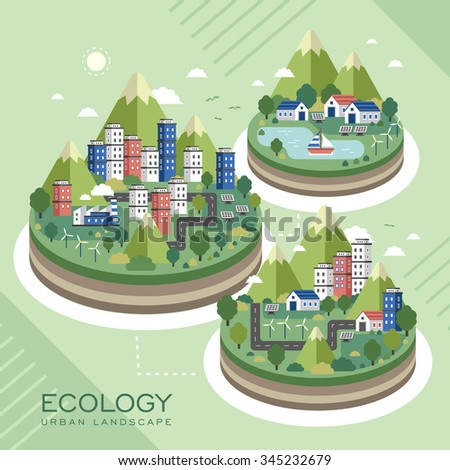 lovely ecology urban landscape in flat style