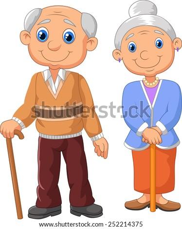 Lovely elderly couple - stock vector