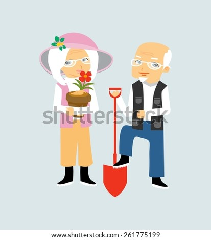 Lovely elderly couple  gardening - stock vector