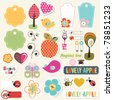 lovely elements for scrapbook - stock vector