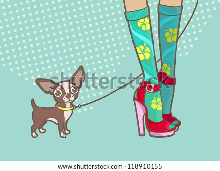 lovely female legs and a little dog - stock vector
