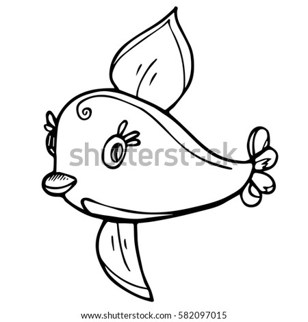 Lovely Fish With Big Eyes For Design Posters Interior Kids Room Fabric