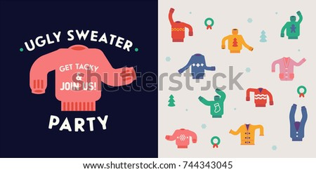 Lovely flat design elements on 'Ugly Sweater Party'. Ideal for winter holiday season party events and gatherings invitations, flyers, posters and cards