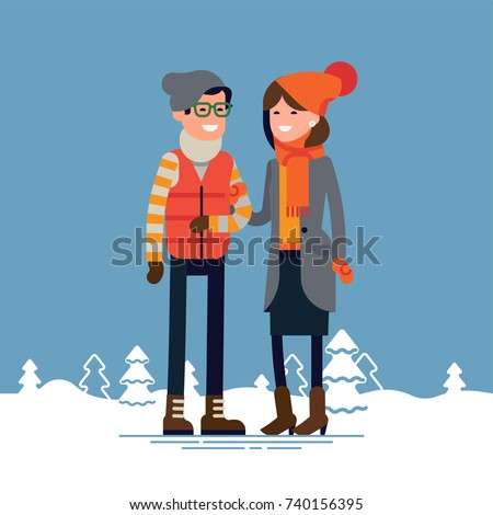 Lovely flat design illustration on young adult heterosexual couple in winter clothes with abstract snowy background with trees. Cold weather season outfits. Man and woman standing together