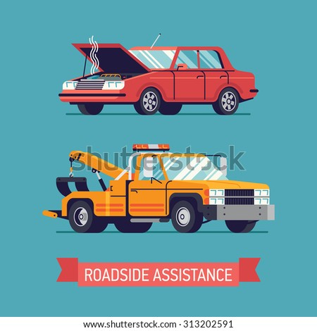 Lovely flat design transportation illustration on broken red classic sedan with opened hood and smoke, yellow crane towing wrecker truck - stock vector