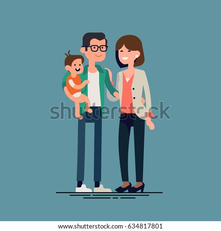 Lovely flat design vector illustration on young caucasian family. Man, woman and small baby standing together. Husband and wife holding toddler. Parents with child. Heterosexual couple with baby