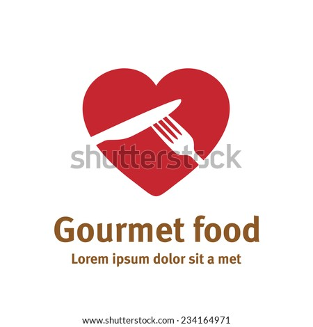 Lovely food logo template. Fork and knife silhouettes with heart shaped background. - stock vector
