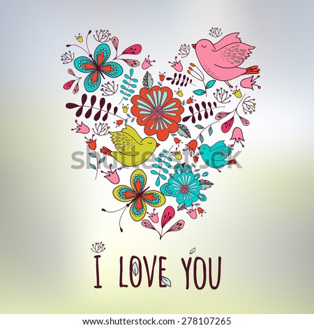 Lovely frame. Floral design. Heart shape. Birds with flowers. Spring and love. Wedding  lovely vintage card - stock vector
