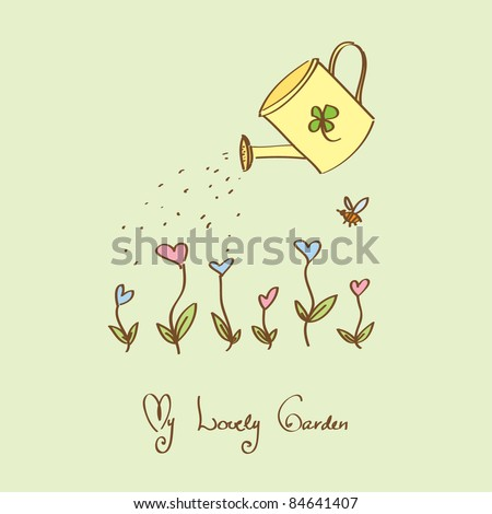 Lovely garden with heart flowers and watering-can - stock vector