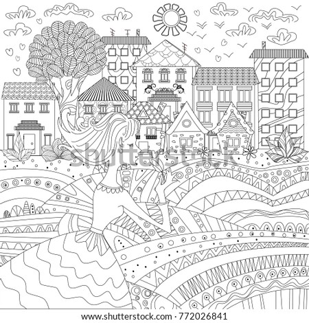 Lovely Girl In A City For Coloring Book