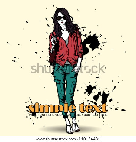 Lovely girl in sketch-style on a grunge background. Vector illustration - stock vector