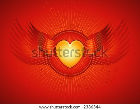 Lovely golden heart with wings on red background