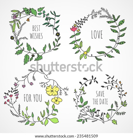 Lovely hand drawn floral wreaths - stock vector