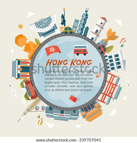 lovely Hong Kong travel concept design in flat design