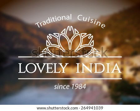 Lovely India logo template. Vector ethnic ornamental design for restaurants and cafes. - stock vector