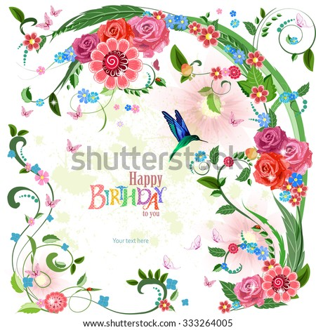 lovely invitation card with roses and bird. Happy birthday - stock vector