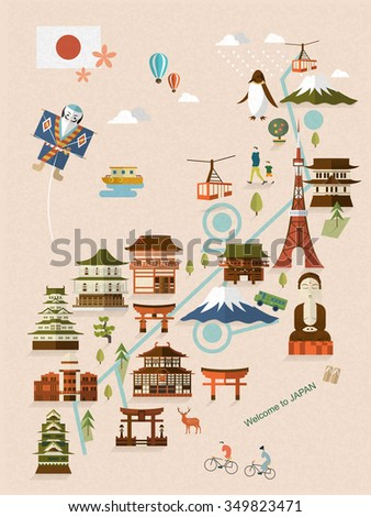 lovely Japan walking map in flat style  - stock vector