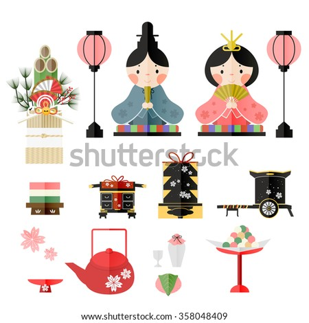 lovely Japanese Doll Festival elements collection design  - stock vector